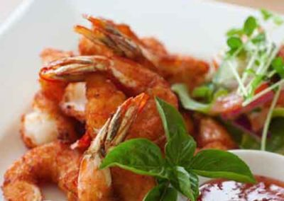 Crumbed Tiger prawns - a favourite