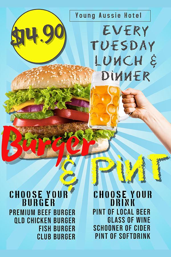 Burger & Pint Deal - Young Australian Hotel