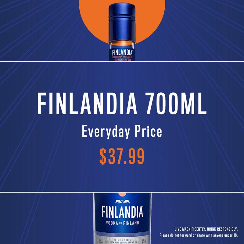 Finlandia Vodka - Everyday price - $37.99 - Young Australian Hotel Bundaberg