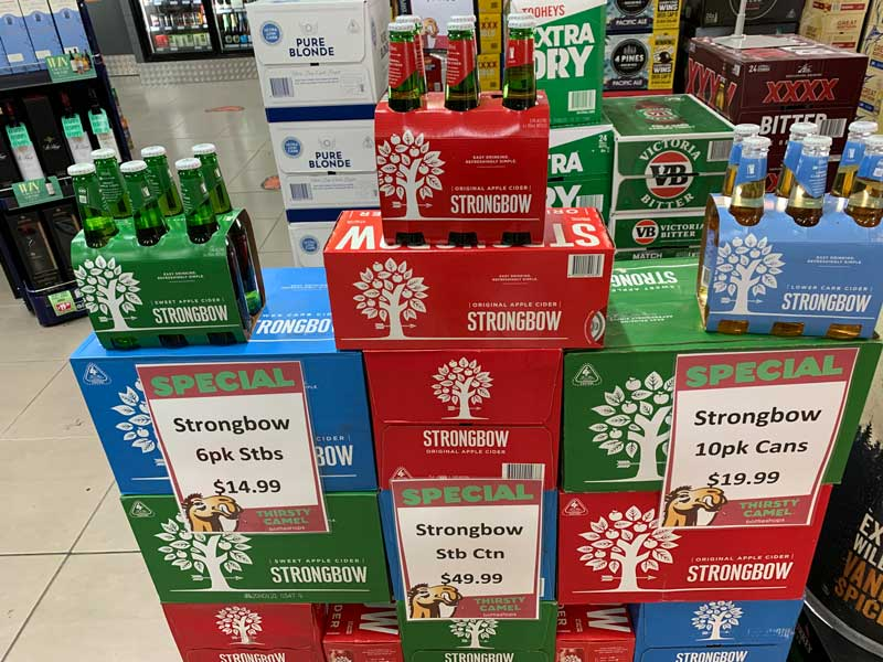 Strongbow Cans and Stubbies Special at the Young Australian Hotel Bundaberg